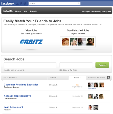 Jobvite app for Facebook match friends to jobs